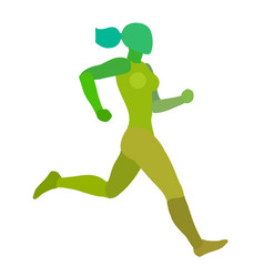 running woman jogging girl green silhouette vector image