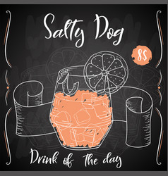 Salty dog cocktail hand drawn drink on white vector