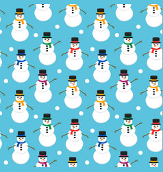 Seamless pattern with cute snowmen vector