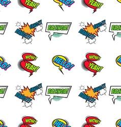 set comic text pop art style seamless pattern vector image