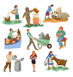 Set different farmer people characters are feed vector