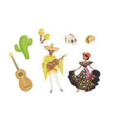 set mexico latin america symbols hispanic man vector image
