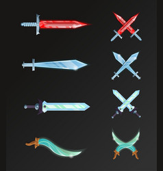 set of cartoon fantasy and epic swords vector image