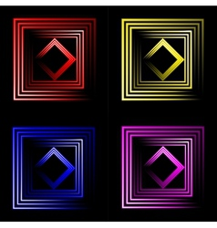 set of multicolored neon square background with vector image