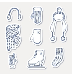 Set of winter stickers hand drawn outline knitted vector