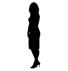 silhoutte of standing woman in short dress vector image