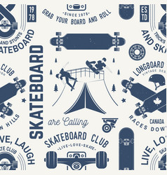 Skateboard and longboard club seamless pattern or vector