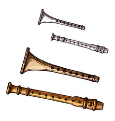 sketch icon flute pipe musical instrument vector image