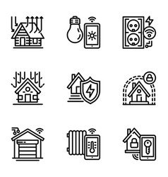 smart building icon set outline style vector image