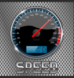 Speedometer on metal perforated background vector