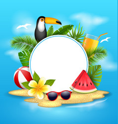 Summer poster with toucan bird watermelon sea vector