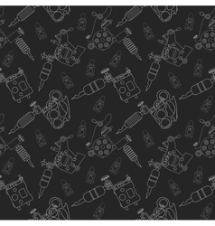 Tattoo machines and ink pattern Black vector image