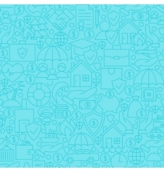 Thin Blue Insurance Line Seamless Pattern vector image