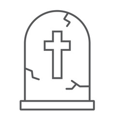 Tombstone thin line icon halloween and death vector