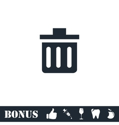 Trash can icon flat vector image
