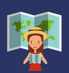 Traveler girl tourist holding map with world map vector
