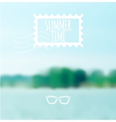 Unfocused summer lake background vector