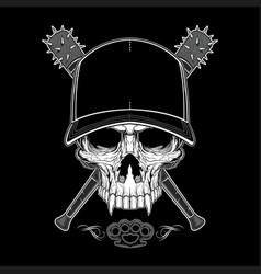 Vintage bandit skull in hipster cap and skeleton vector