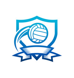 volleyball shield badge icon vector image
