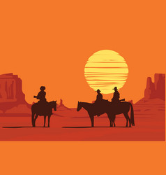 Western landscape with armed cowboys at sunset vector