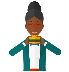 Woman eating hamburger vector image