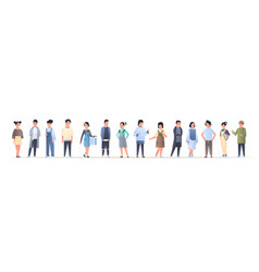 Young asian men women group wearing casual clothes vector