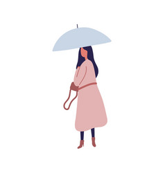Young female with umbrella flat vector