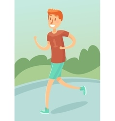 Young man running outdoors character flat vector image vector image