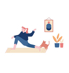 young woman sitting on floor with cat in room vector image