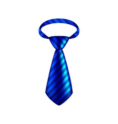 Blue striped tie isolated on white vector image