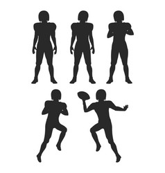 collection of silhouettes football players set vector image vector image