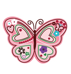 colourful butterfly with flower vector image vector image