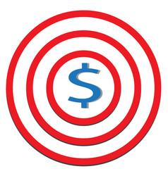 dollar target icon on white background dollar vector image
