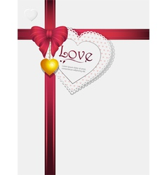 valentine pink ribbon pendant and card vector image vector image