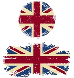 British round and square grunge flags vector image