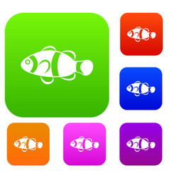 cute clown fish set collection vector image