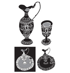 decanter and shot glass ornament vector image vector image