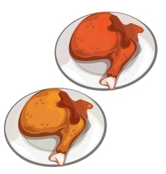 Delicious fried chicken legs food vector image