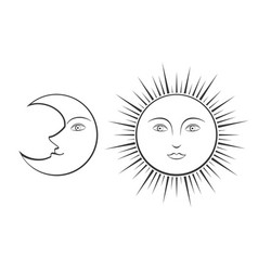 moon and sun with faces vector image