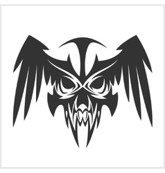 skull with wings in tribal style vector image