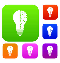 brain lamp set color collection vector image vector image