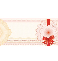 Guilloche Background for Gift Certificate with Red vector image