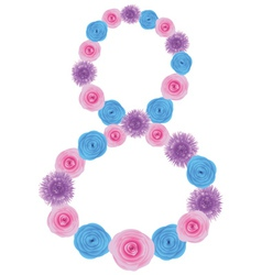 Number 8 made from flowers vector image