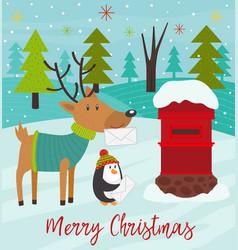 polar animals send letters to santa claus vector image