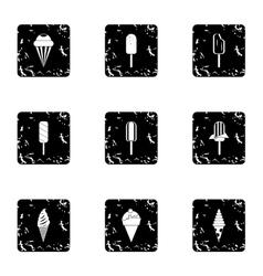 Sundae icons set grunge style vector