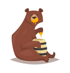 bear eating sweet honey vector image