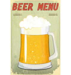 glass of beer vintage background vector image