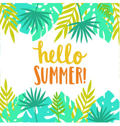 hello summer bright and beautiful card template vector image vector image