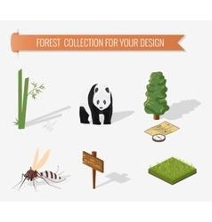 Isometric 3d forest camping elements vector image vector image