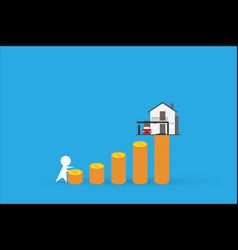 man climbing coins stack with home real estate vector image vector image